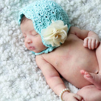 Crochet Pattern for Lacy Shells Baby Bonnet Hat - 6 sizes, newborn to adult - Welcome to sell finished items