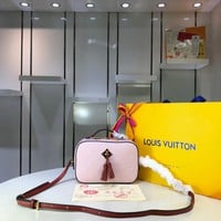 Kuyou Gb29810 Lv Louis Vuitton M43559 Monogram Handbags Pink Two-tone Canvas Cross Body Bags Saintonge 21.0*8.0*15.0cm