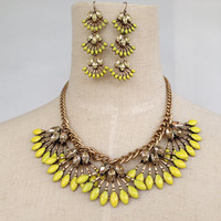 Yellow Statement Necklace with Matching Drop Earrings, Necklace Earrings Set, Jewelry Set