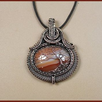 Handmade Tree of Life wire  wrapped pendant. Wire Wrap jewelry.