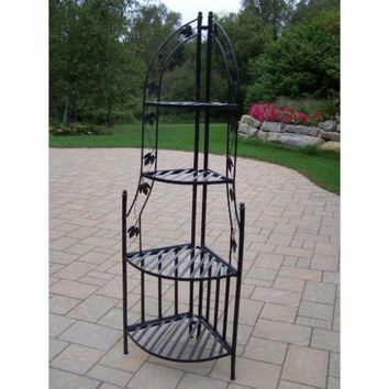 4 Tier Wrought Iron Corner Metal Planter Stand in Black
