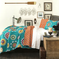 Full / Queen Turquoise Orange Yellow Paisley Geometric 100% Cotton 3 Piece Quilt Coverlet Bedspread Set