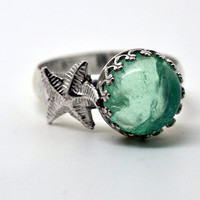 Handmade Fluorite Ring, Sterling Silver Starfish Ring, Green Gemstone Ring, Seaside Jewelry