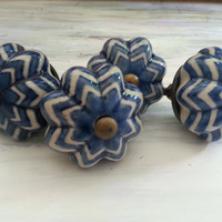 Knob Pull Handles, Fixtures Blue and White Drawer Pulls, Pull Handles, Knobs, Set of 4 Furniture Accent Knobs, FREE Shipping
