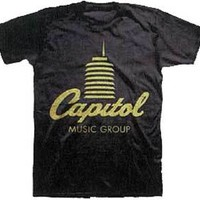 Capital Records Tower Logo black Shirt Size LARGE