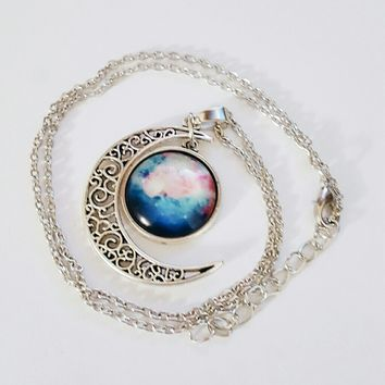 NEW BLUE AND PINK GALAXY MOON NECKLACE
