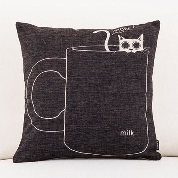 Black Coffee Cup Cute Cat Emoji Kid Cool Throw Massager Decorative Vintage Lumbar Pillows Cover Pillow  Home Decoration Gift
