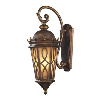 42002/3 Burlington Junction 3 Light Outdoor Wall Sconce In Hazlenut Bronze And  Amber Scavo Glass - Free Shipping!