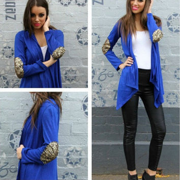 Blue Long Sleeve Sequined Elbow Patch Cardigan