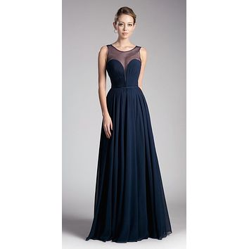 Long A-Line Chiffon Dress Navy Blue Illusion Neckline And Open V-Back