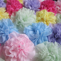 Soft romantic fabric flowers large chiffon fabric flower pins brooches acessories diy wedding decor gifts soft handmade flowers