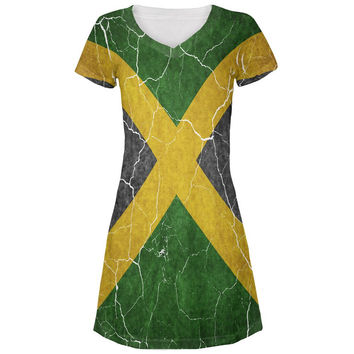 Distressed Jamaican Flag All Over Juniors V-Neck Dress