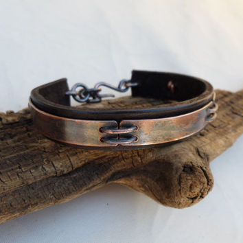 Leather and Copper Bracelet, Men's Leather and Copper Bracelet, Mens Leather Bracelet, Mens Copper Bracelet, Industrial,ColeTaylorDesigns