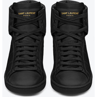 Saint Laurent High Top Sneaker In Black Leather