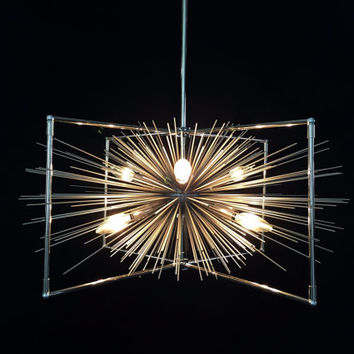 5-Bulb Caged Silver Urchin Chandelier