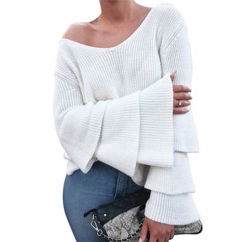 New Fashion Womens Sweater White Long Sleeve Woman Ruffle Sleeve Loose Knitted Sweater Female Pullover Sweaters Crochet Outwear