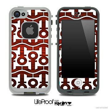 White and Rich Red Wood Anchor Collage Skin for the iPhone 5 or 4/4s LifeProof Case