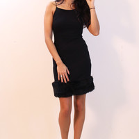 Crepe Cami Dress with Fur Trim Hem in Black