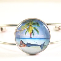 Tropical Mermaid Cuff Bracelet, Fantasy Creature Bracelet, Mermaid Jewelry