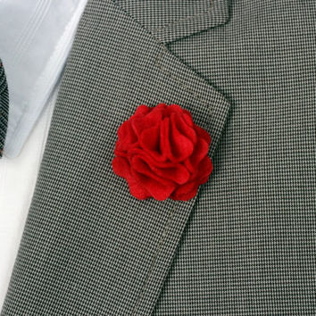 Carnation Men's Wool Red Felt Lapel Flower boutonniere