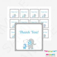 Blue Elephant Baby Shower Thank You Tags, Blue and Gray Baby Shower Printable Favor Tags, Baby Shower Decor, Favor Cards, Download, ELLBG