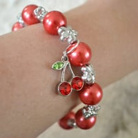 Red Cherry Charm Bracelet With Red Beads and Flower by By5Jewelry