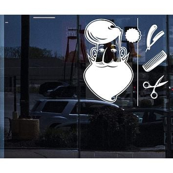 Window Sign for Business Vinyl Decal Wall Sticker Barber Shop Tools Elements Hair Salon Art (n823w)