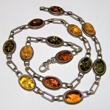 Sterling Silver Amber Necklace, Honey Green and Cognac Amber Cabochons, 18 Inches Long, Boho Chic, Vintage Jewelry 817s