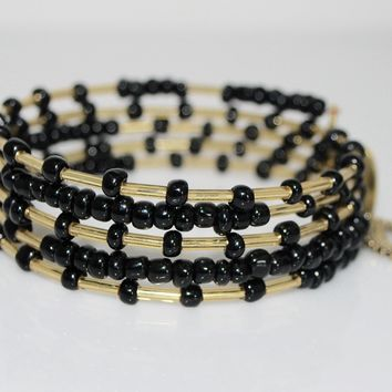 Copy of Gorgeous Slate Seed Bead With Charms Steel Wrap Around Bracelets
