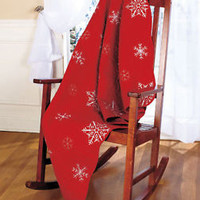 Crimson Embroidered Snowflake Throw Blanket Sofa, Bed, Chair Christmas Decor