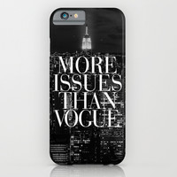 More Issues Than Vogue Black and White NYC Manhattan Skyline iPhone & iPod Case by RexLambo