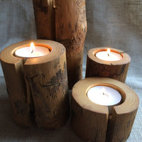 Set of 4 Rustic Ash Tree Candle Holders, Rustic wood candle holders, decoration, decor, natural tree branch, log candle holders