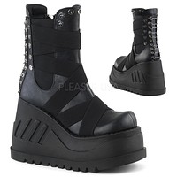 "Stomp 25 Black Matte  4.75"" Platform Wedge Mid-Calf Boot -Elastic Straps & Studs"