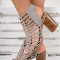 Macy Strappy Booties (Light Grey)