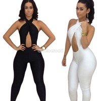 Lady Sexy Bandage Party Nightclub Backless Bodycon Dress Bodysuit Jumpsuit C99D