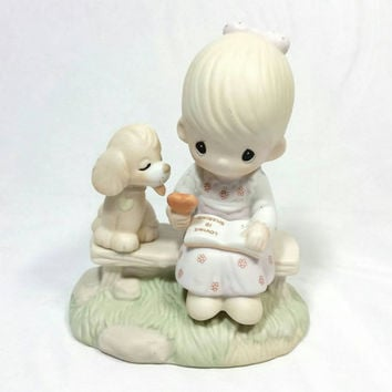 "Vintage Precious Moments ""Loving is Sharing""/1979 Collectable Precious Moments Figurine/Dog Love/Jonathan & David Enesco Imports"