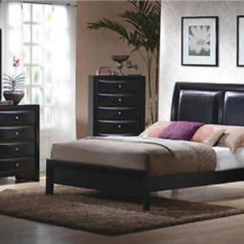 Contemporary Briana King Low Profile Upholstered Bed Glossy Black finish 4pcSet