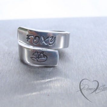 Fox Ring - Foxy - Animal Lover - Cute Fox - Ring Wrap - Custom Ring - Gift for Her - Personalized Ring - Initial Ring