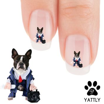 "Boston Terrier ""My Corporate Boston!"" Nail Art Decals( NOW 50% MORE FREE)"