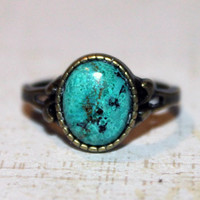 Blue Chrysocolla Stone Antique bronze Metal ring, size 6(1/2)