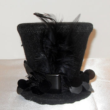 Black Mini Top Hat w/ Large Sequin and Bead Trim, Front Square Jewel, Black Feathers - Couture - Party - Costume