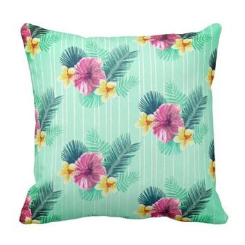 Adorable blue background floral texture throw pillow