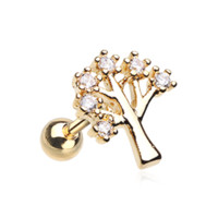 Golden Tree of Life Sparkle Cartilage Helix Tragus Earring 18ga Surgical Steel Body Jewelry
