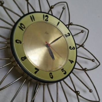 Vtg. 50s Lux Starburst  Wall  Clock Working Retro Atomic Electric Eames Era