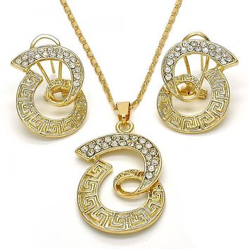 Gold Layered 10.306.0016 Earring and Pendant Adult Set, Greek Key Design, with White Crystal, Polished Finish, Golden Tone
