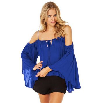 Cold Shoulder Trumpet Sleeve Loose Shirt