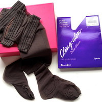2 Pairs Vintage Thigh High Seamless Stockings,USA Made Sears Best Cling-alon Thi-Top Dress Sheers,Classic 8 1/2-11,Off Black,Unworn Nylons