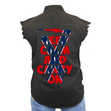 Men's Confederate Rebel Flag Sleeveless Denim Vest Keep Calm And Carry On Biker Shirt