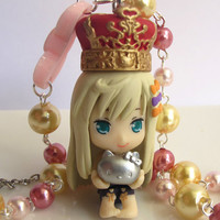 Japanese Kawaii Harajuku Style Lovely WITH Anime Kuroboshi kouhaku Kittyler and ribbon bow Pink and gold beaded Necklace