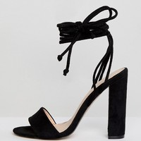 Public Desire Suzu Black Tie Up Block Heeled Sandals at asos.com